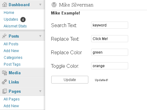 Mike Example Plugin admin page.